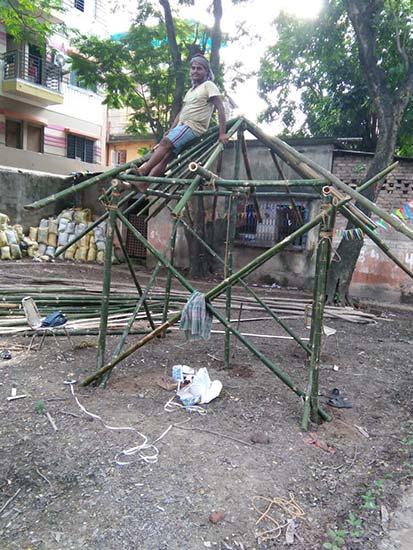 Khidderpore Sarbojanin Pandal Construction 2018